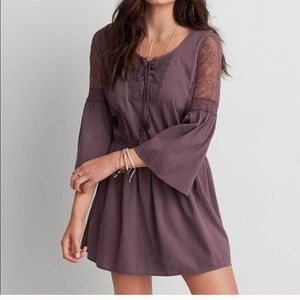 American Eagle lace up peasant dress